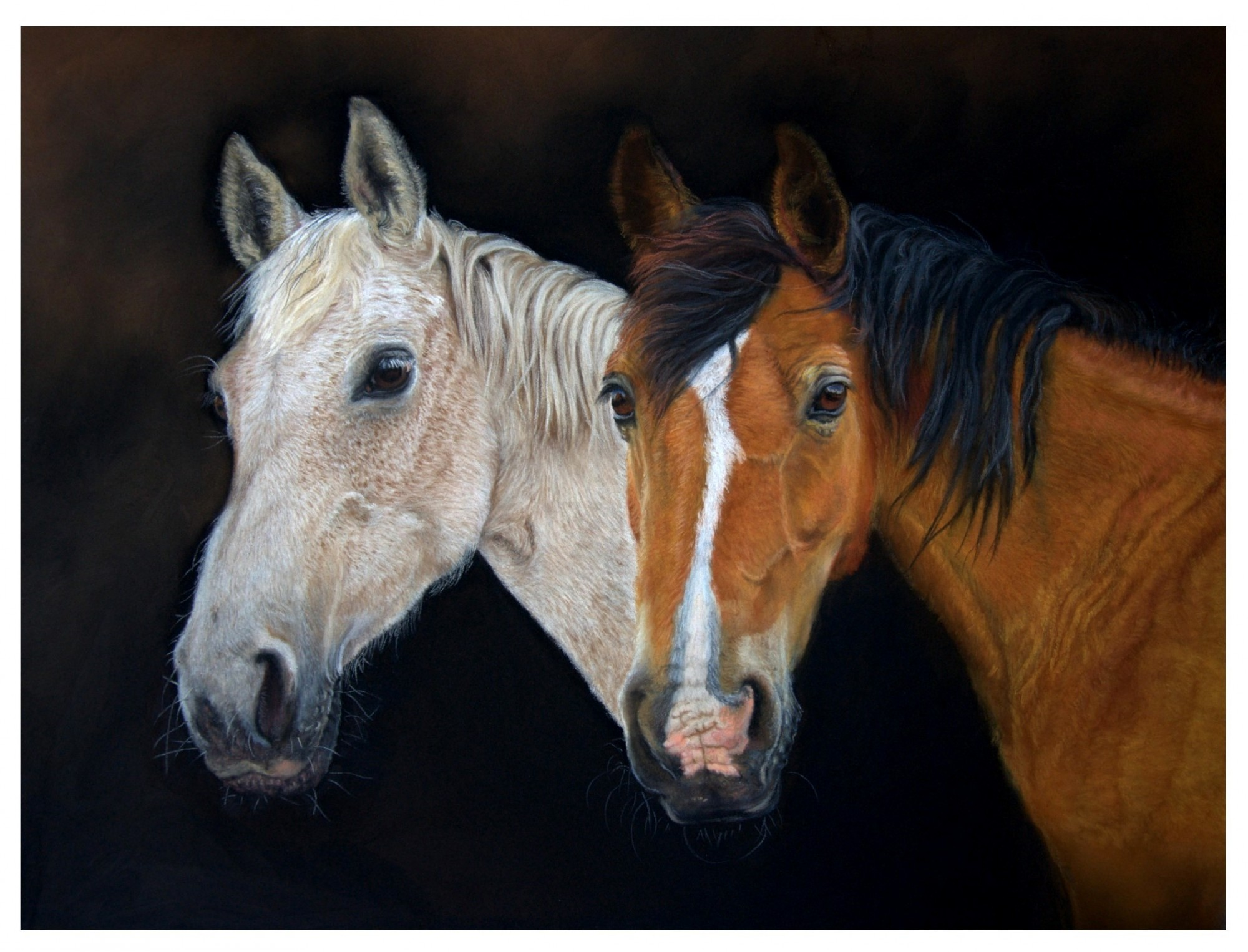 painting of two horses one grey and one chestnut
