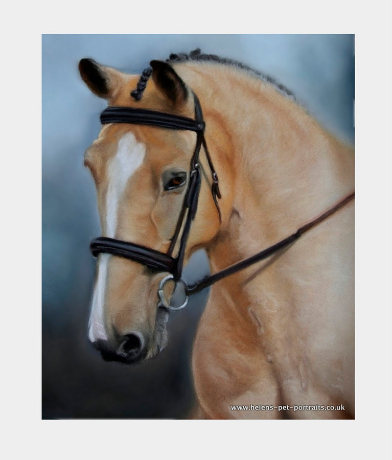 dun coloured pony painted in soft pastels