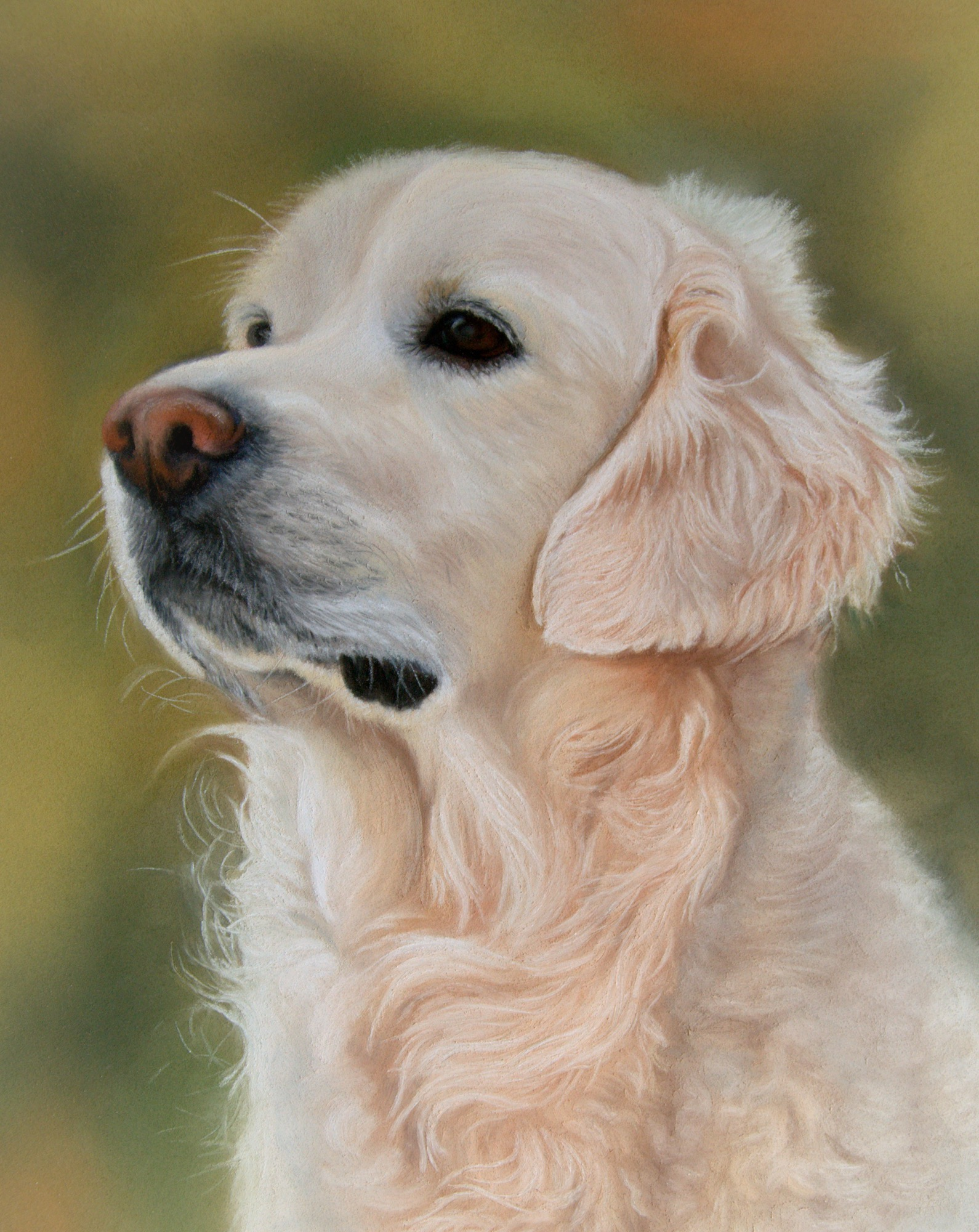 golden dog against a green background retriever painting