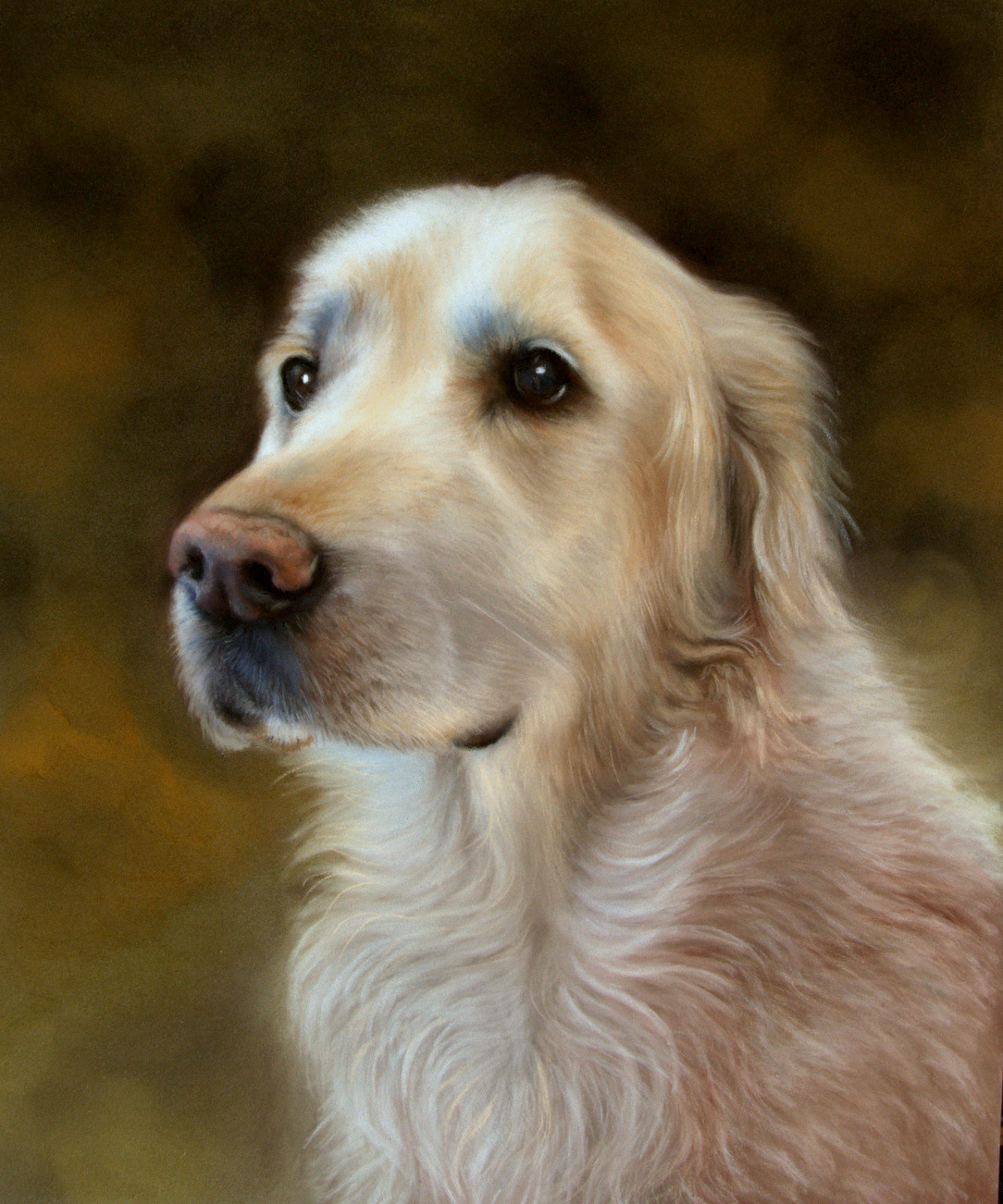 life like retriever portrait painting