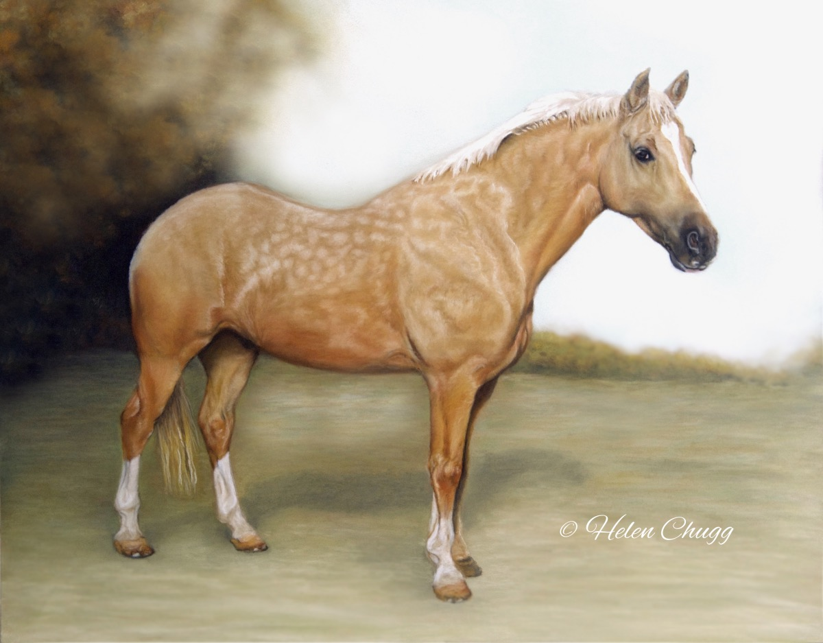 palomino horse against a scenic background pastel painting